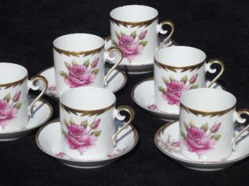 vintage Hackefors Sweden espresso set, pink rose demitasse cups and saucers