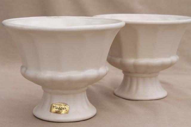 Vintage Haeger Pottery Flower Vases Pair Matte Ivory White Ceramic Classical Urns