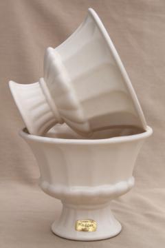 vintage Haeger pottery flower vases, pair matte ivory white ceramic classical urns