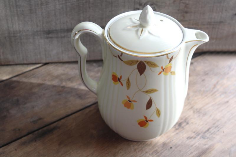 vintage Hall china Autumn Leaf Jewel Tea coffee pot w/ lid, rayed shape
