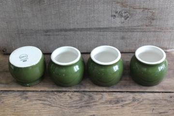 vintage Hall china forest green / white ironstone, set of 4 bakers bowls for baked beans