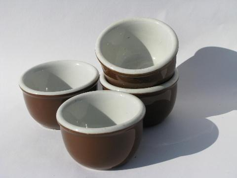 vintage Hall ironstone china, individual baking ramekins or custard cups