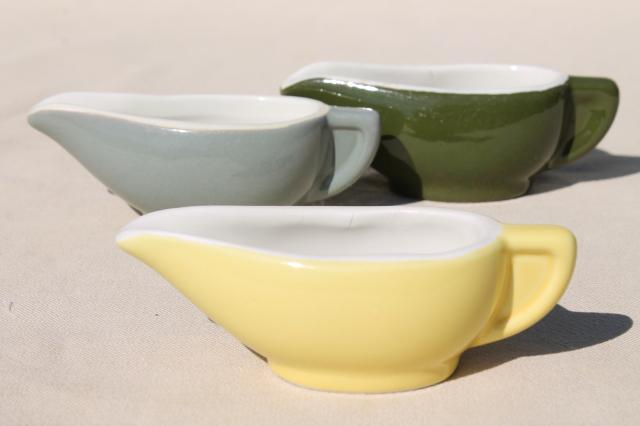 vintage Hall restaurant ironstone china, individual sauce pitchers or tiny gravy boats