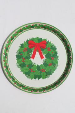 vintage Hallmark holiday tray, tin metal serving tray w/ Christmas wreath print
