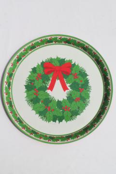 vintage Hallmark holiday tray, tin metal serving tray w/ Christmas wreath print
