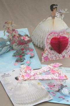 vintage Hallmark honeycomb paper party decorations, retro bride, hearts & flowers