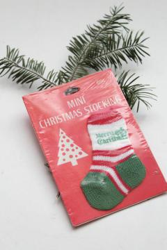 vintage Hallmark package mini stocking Merry Christmas ornament decoration, knitted sock