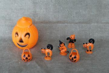 vintage Halloween, Hong Kong hard plastic cupcake topper toys & jack-o-lantern candy container