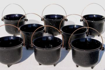 vintage Halloween black milk glass witch cauldron bowls or candy containers, set of 8