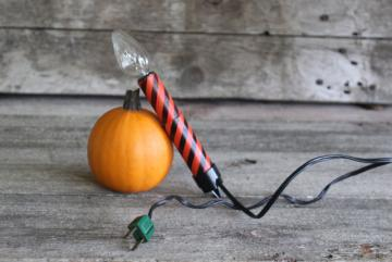 vintage Halloween black & orange striped cardboard candle, electric light for jack-o-lantern pumpkin