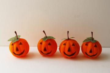 vintage Halloween decorations, flocked plastic jack-o-lantern face pumpkins
