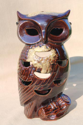 vintage Halloween lantern, large ceramic owl candle lamp fairy light