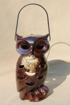 vintage Halloween lantern, large ceramic owl candle lamp fairy light