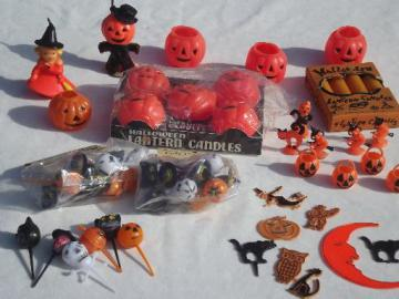 vintage Halloween party decorations lot, cupcake toppers & pumpkin candles