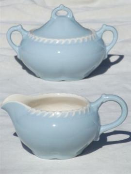 vintage Harker Chesterton blue & white china cream pitcher & sugar set