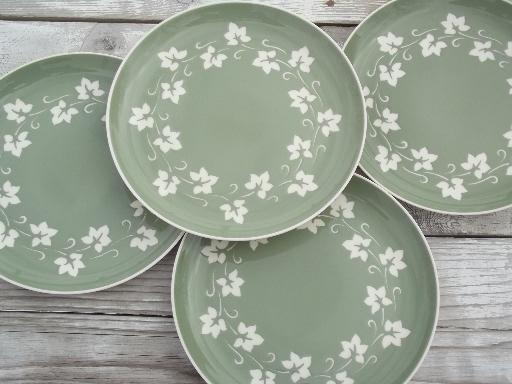 & vintage Harker cameoware green ivy cameo ware china dinner plates