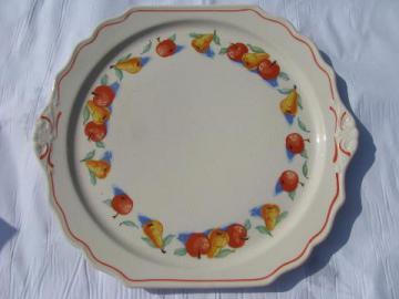 vintage Harker china, Apple & Pear pattern cake or chop plate, lug handles