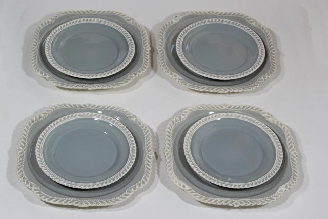 vintage Harker ware Chesterton pie crust feather edge china grey & white plates