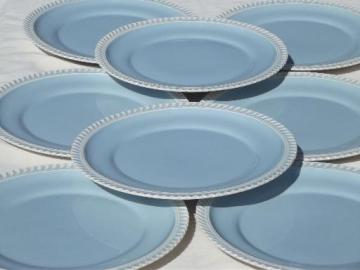 vintage Harker ware china Chesterton Royal Gadroon blue & white plates