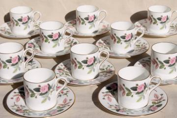 vintage Hathaway Rose Wedgwood china demitasse coffee cups & saucers set of 10