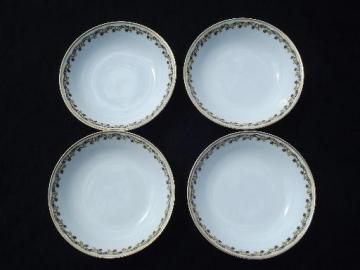 vintage Haviland Limoges china bowls, yellow border w/ tiny black flowers