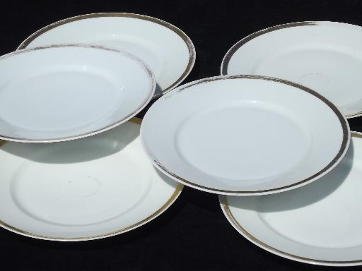 & vintage Haviland Limoges china dinner plates white w/ wide gold band