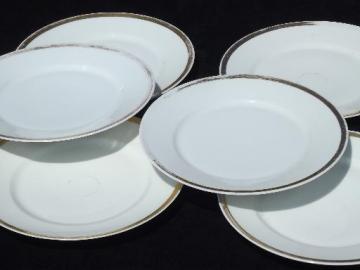 vintage Haviland Limoges china dinner plates, white w/ wide gold band