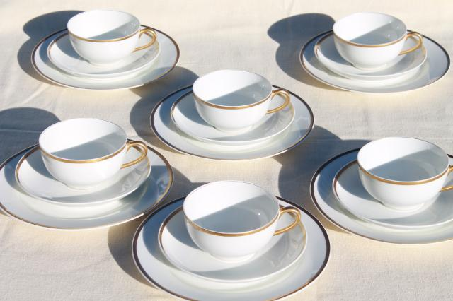 Vintage Haviland Wedding Band Gold White Porcelain Coffee Dessert Set Of 6 Tea Cups Plates