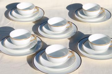 vintage Haviland wedding band gold white porcelain coffee / dessert set of 6, tea cups & plates