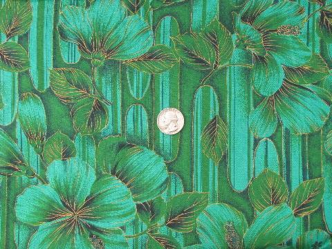 Vintage Hawaiian Textiles Fabric Hawaii Flowers Print Cotton In Green