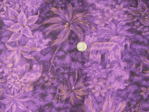 Vintage Hawaiian Textiles Fabric Hawaii Flowers Print Cotton In Purple