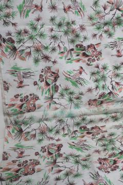 vintage Hawaiian print cotton feedsack fabric, tropical paradise Hawaii or Tahiti?