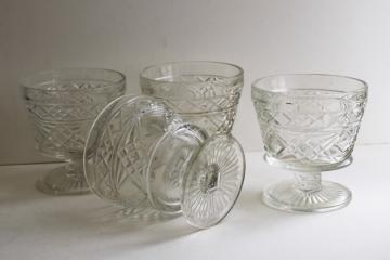 vintage Hazel Atlas Gothic pattern peanut butter glasses, clear glass sherbet dishes
