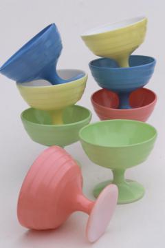 vintage Hazel Atlas Moderntone platonite pastel glassware, set of 8 sherbets in retro candy colors