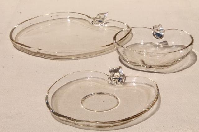 vintage Hazel Atlas Orchard crystal apple glass snack dishes plates bowls no cups & vintage Hazel Atlas Orchard crystal apple glass snack dishes plates ...