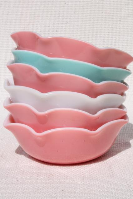 vintage Hazel Atlas crinoline pink & aqua ripple milk glass bowls or dessert dishes