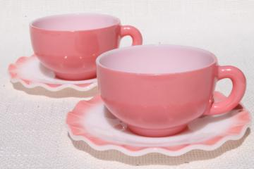 vintage Hazel Atlas crinoline pink ruffle ripple milk glass cups & saucers