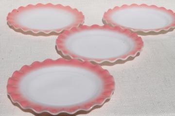 vintage Hazel Atlas crinoline pink ruffle ripple milk glass luncheon / salad plates
