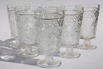 vintage Hazel Atlas glass Big Top peanut butter Gothic pattern footed tumbler iced tea glasses