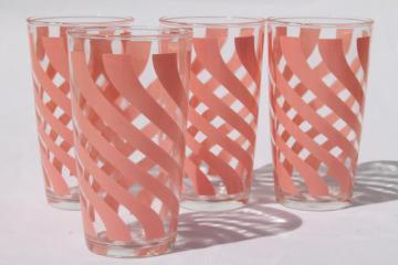 vintage Hazel Atlas glass tumblers, pink swirl print drinking glasses crinoline pattern go-along