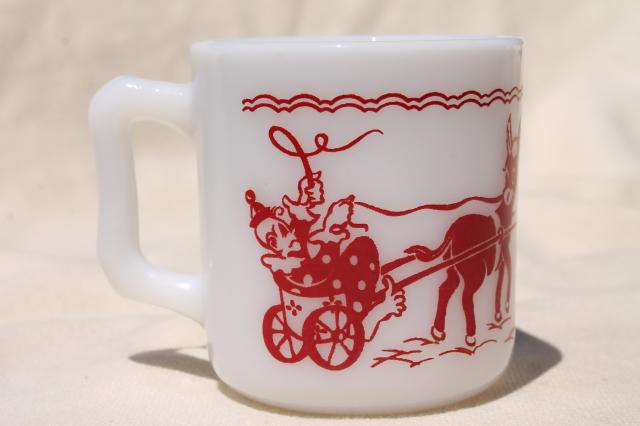 vintage Hazel Atlas milk glass children's mug, baby cup w/ red & white circus print pattern
