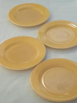 vintage Hazel Atlas moderntone plates, honey gold platonite milk glass