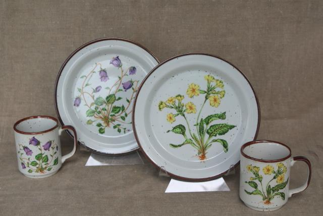 vintage Hearthside Japan Buffet Ware stoneware dinnerware, salad plates & mugs w/ wildflowers