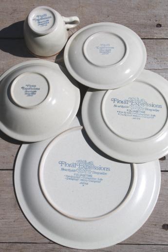 Vintage Hearthside Stoneware Dishes Set For 8, Foliage Time Retro Flowers