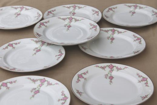 vintage Heinrich Bavaria H & C Rosalinda pink roses china luncheon plates set of 8