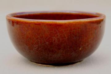 vintage Heinz McCoy pottery brown glazed bowl, stoneware bean pot bowl