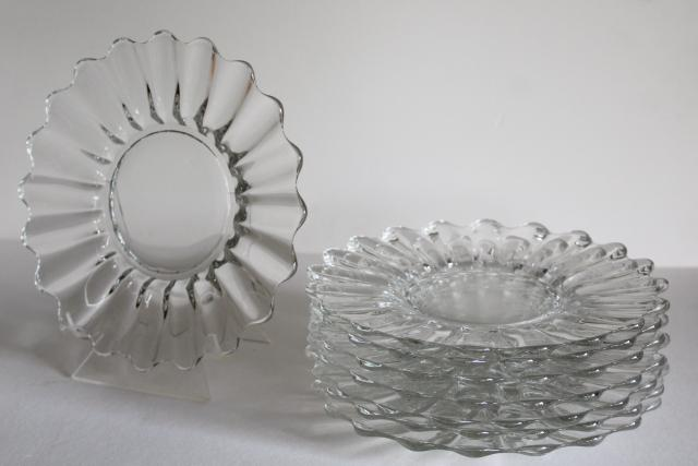 vintage Heisey Crystolite crystal clear glass salad or luncheon plates, set of 8