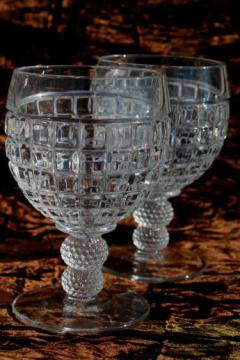 vintage Heisey Victorian water / wine glasses, crystal clear glass goblets