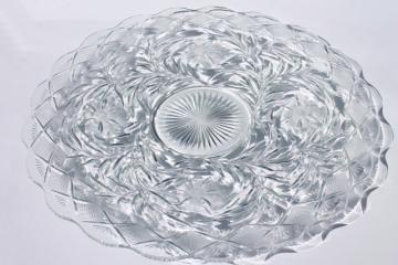 vintage Holiday pattern pressed glass, huge plate or punch bowl underplate