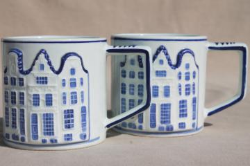 vintage Holland Delft mugs, blue & white handpainted coffee cups w/ Dutch row houses